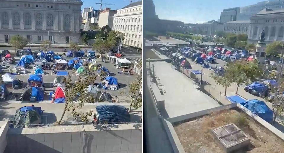 A screenshot from the video posted to Twitter showing tents lined in in rows in a courtyard.