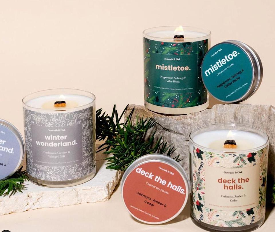 "Seventh and Oak holiday candles (Photo: <a href=""https://seventhandoak.com/"" target=""_blank"">Seventh and Oak</a>)"