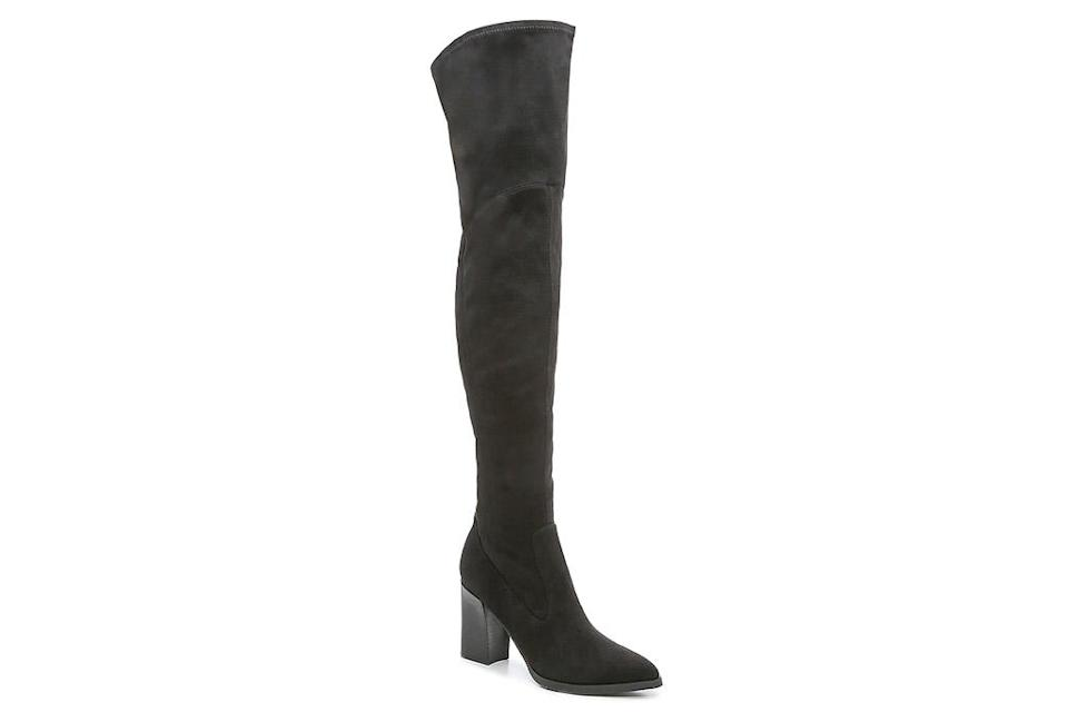 black boots, thigh high, marc fisher
