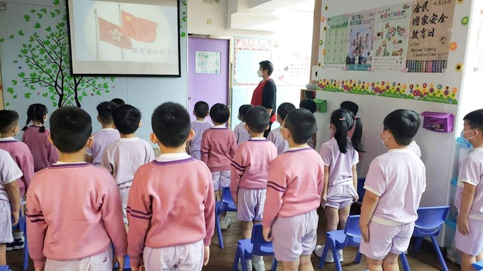 Kindergarten pupils participate in an event marking National Security Education Day earlier this month. Photo: Handout