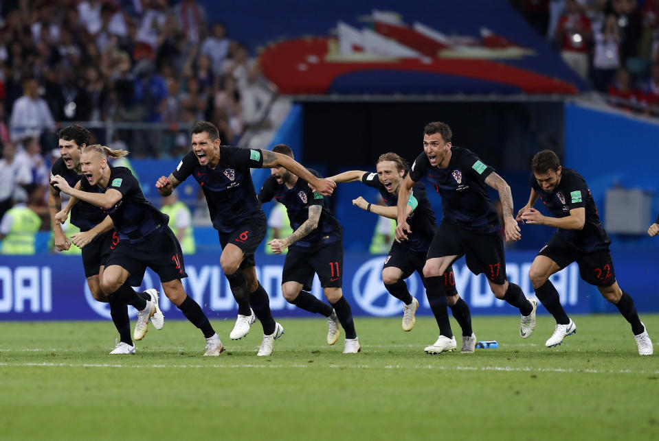 Croatia players celebrate their penalty shootout victory over Russia in the 2018 World Cup quarterfinals. (AP)