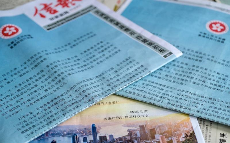 Hong Kong's chief executive issued a letter to the city's people asking them to support national security legislation - Justin Chin/Bloomberg