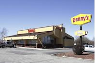 """<p>Here's a restaurant you can always count on. Denny's is open all day, every day of the year, so you can get breakfast, lunch, and dinner on Thanksgiving day. </p><p><strong><a href=""""https://locations.dennys.com/search.html"""" rel=""""nofollow noopener"""" target=""""_blank"""" data-ylk=""""slk:Find a location"""" class=""""link rapid-noclick-resp"""">Find a location</a>.</strong></p>"""