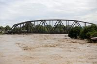A general view shows the Chamelecon river during the passage of Storm Eta, in San Pedro Sula