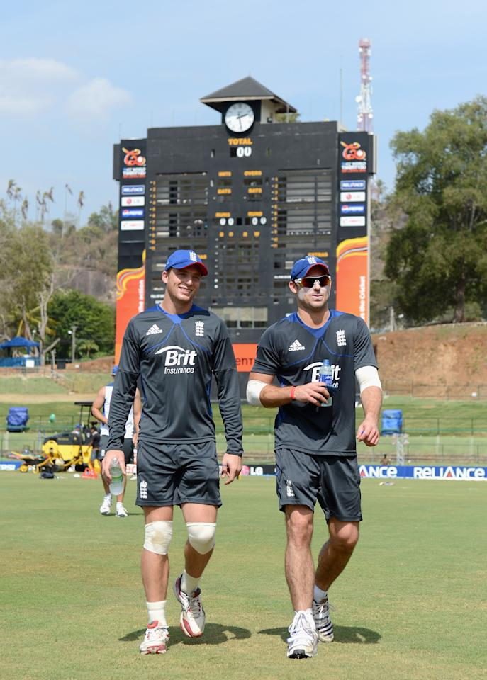 KANDY, SRI LANKA - SEPTEMBER 26:  Jos Buttler and Michael Lumb of England walk to the nets during a nets session at Pallekele Cricket Stadium on September 26, 2012 in Kandy, Sri Lanka.  (Photo by Gareth Copley/Getty Images,)