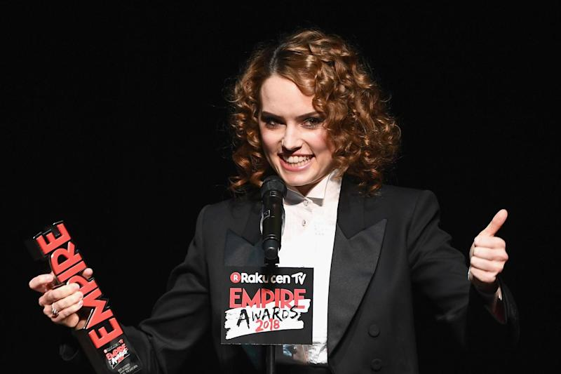 Actress Daisy Ridley, winner of the Best Actress award, on stage during the Rakuten TV EMPIRE Awards 2018: Getty Images