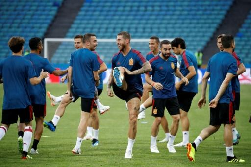 Sergio Ramos and his Spain teammates train on the pitch in Sochi ahead of Friday's clash with Portugal