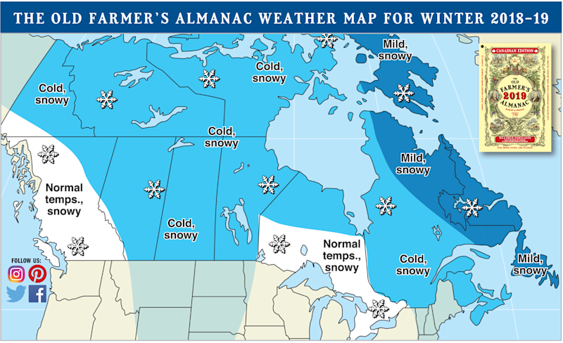 Farmer\'s Almanac\'s \'teeth-chattering cold\' forecast for Canada\'s ...