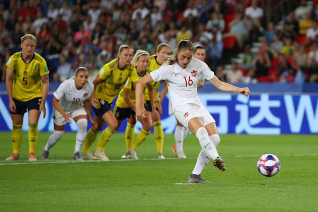 Janine Beckie of Canada misses a penalty during the 2019 FIFA Women's World Cup France Round Of 16 match between Sweden and Canada at Parc des Princes on June 24, 2019 in Paris, France. (Photo by Richard Heathcote/Getty Images)