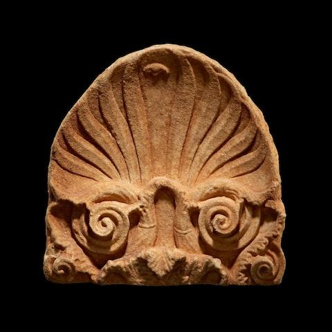 An Attic marble grave stele anthemion finial, c. 4th Century BC - Credit: Courtesy Kallos Gallery