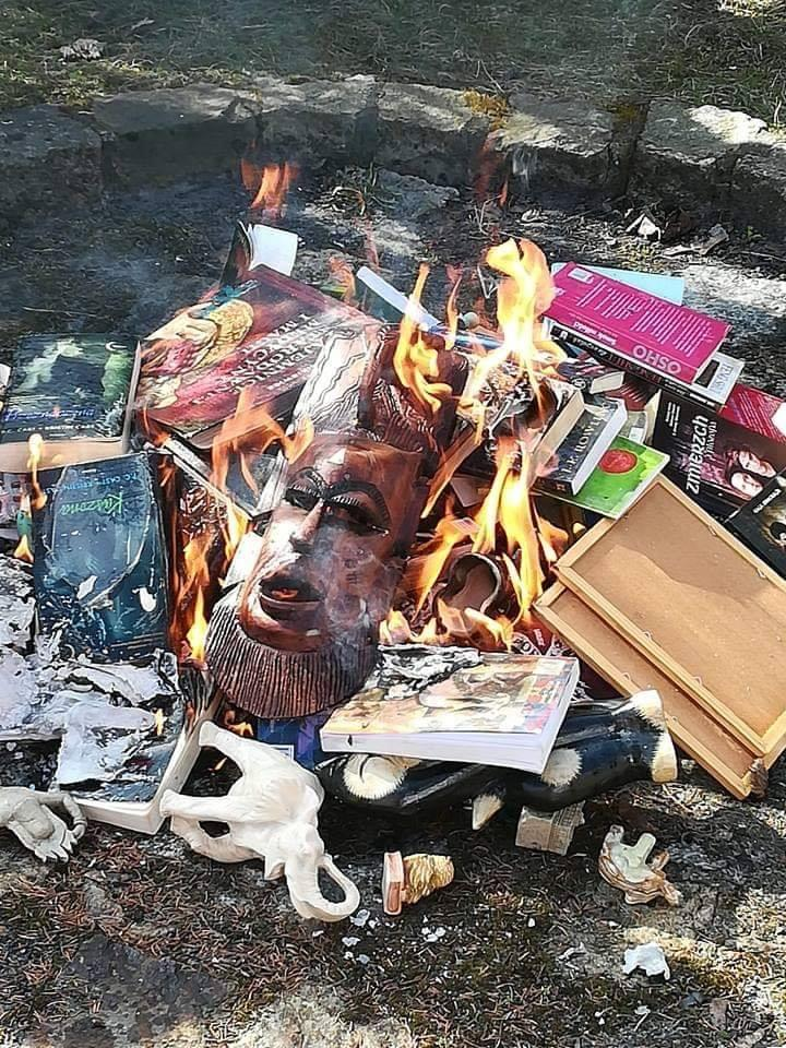 Images of books and items being burned by Catholic priests at Gdansk's Mother of Church on Sunday – including Harry Potter. (Facebook)
