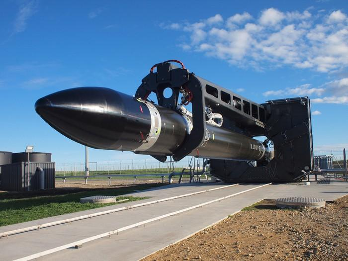 Rocket Lab Electron rocket from a horizontal view