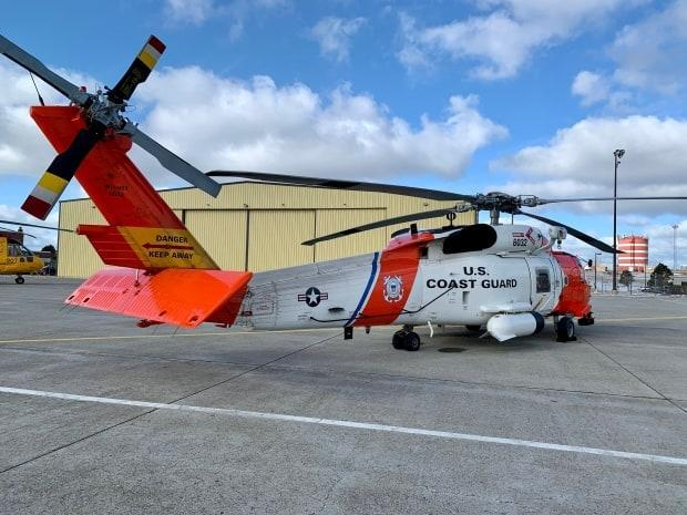 The United States Coast Guard helicopter that helped rescue the crew of the Atlantic Destiny.