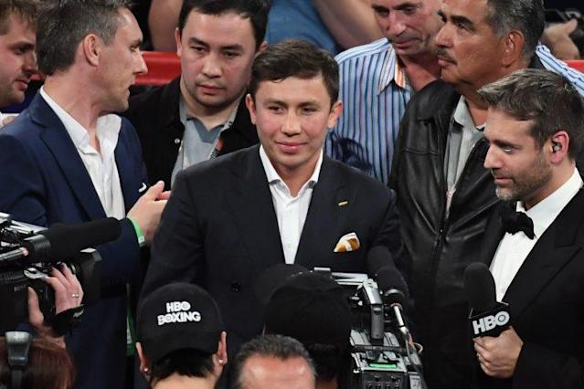 Gennady Golovkin interacts with Canelo Alvarez in the ring after Alavarez defeated Julio Cesar Chavez Jr. on Saturday. (Getty)