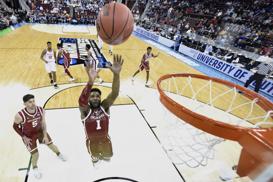 <p>Rashard Odomes #1 of the Oklahoma Sooners puts up a shot against the Mississippi Rebels in the first round of the 2019 NCAA Men's Basketball Tournament held at Colonial Life Arena on March 22, 2019 in Columbia, South Carolina. (Photo by Grant Halverson/NCAA Photos via Getty Images) </p>