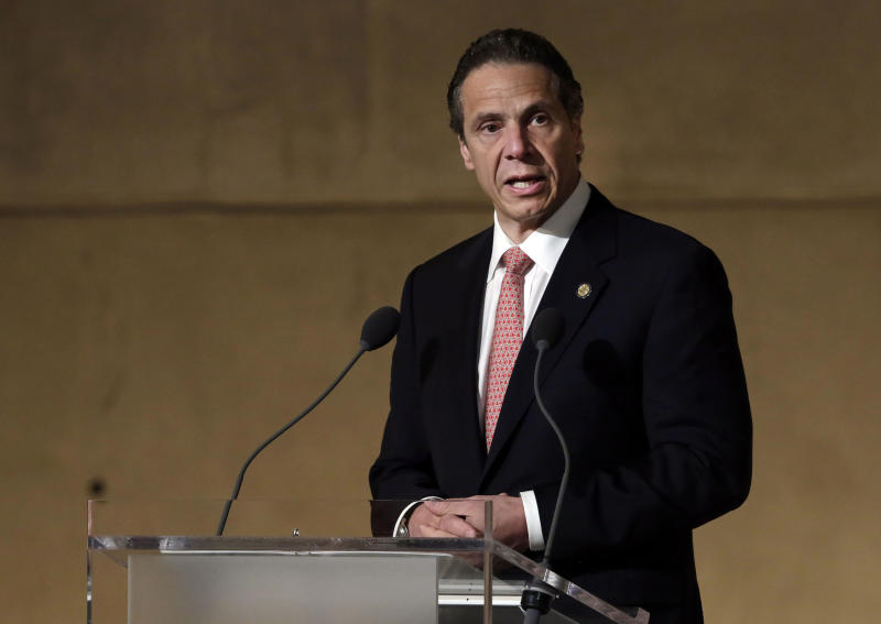 New York Governor Andrew Cuomo speaks during the dedication ceremony in Foundation Hall, of the National September 11 Memorial Museum, in New York, Thursday, May 15, 2014. REUTERS/Richard Drew/Pool (UNITED STATES - Tags: SOCIETY POLITICS)