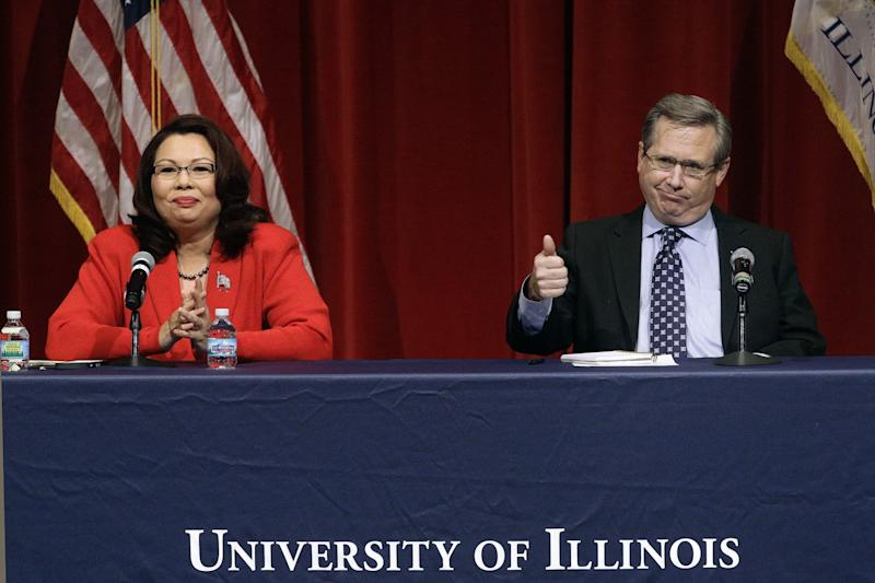 Democratic Rep. Tammy Duckworth and Republican Sen. Mark Kirk face off in their first televised debate, on Oct. 27 at the University of Illinois at Springfield, in what is considered a crucial race that could determine which party controls the Senate. (Photo: Seth Perlman/AP)