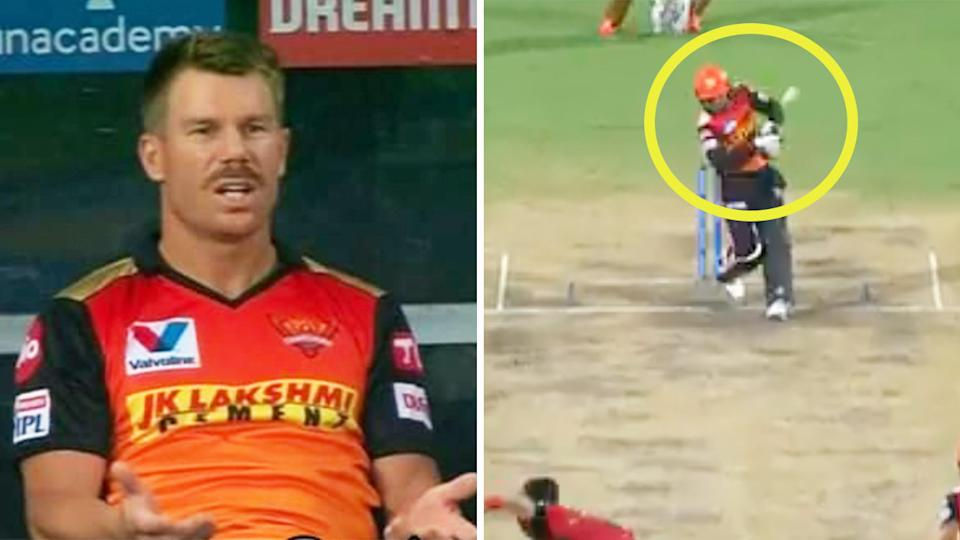 David Warner (pictured left) reacting angrily and Rashid Khan (pictured right) hitting a waist-high no ball during their IPL match.