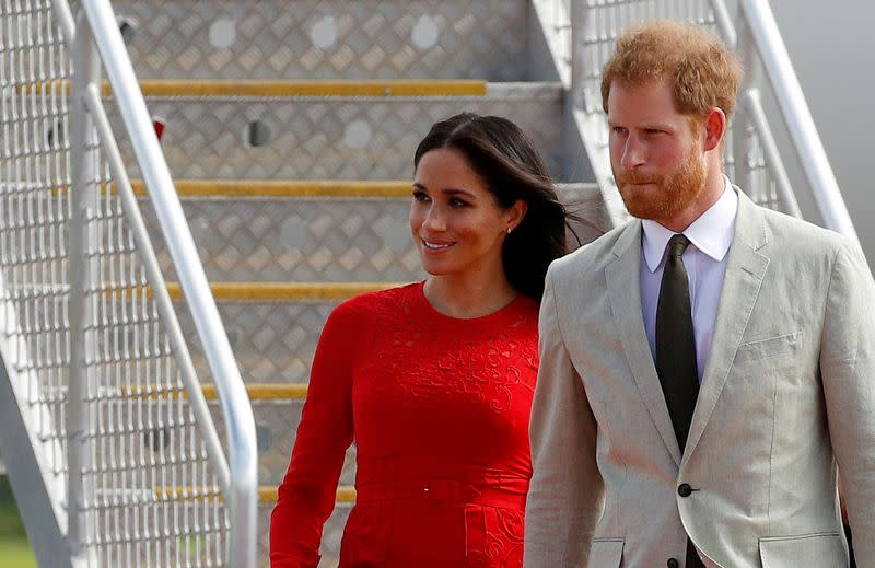 FILE PHOTO: Britain's Prince Harry and Meghan, Duchess of Sussex, in Tonga