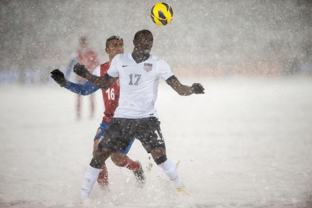 COMMERCE CITY, CO - MARCH 22:  Forward Jozy Altidore #17 of the United States and Costa Rica midfielder Diego Calvo #16 of Costa Rica track the ball during a FIFA 2014 World Cup Qualifier match between Costa Rica and United States at Dick's Sporting Goods Park on March 22, 2013 in Commerce City, Colorado. (Photo by Dustin Bradford/Getty Images)