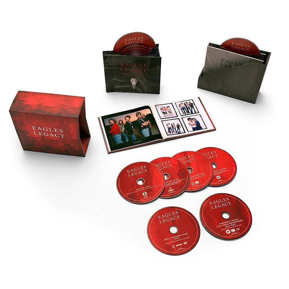 <p>These dozen CDs comprise all seven of the folk-rock band's studio albums, three live albums, a compilation of singles and B-sides, and two concert videos: Hell Freezes Over and Farewell Tour: Live From Melbourne. The box comes with a 54-page hardbound book filled with rare and unseen photos, memorabilia and artwork. </p>