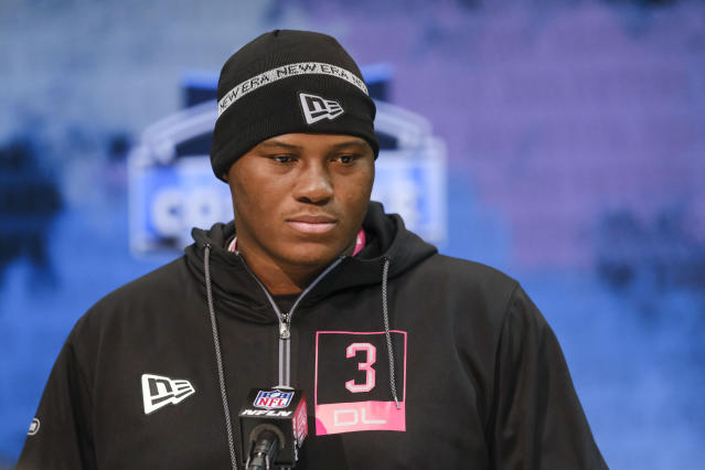 Auburn defensive lineman Derrick Brown listens during a press conference at the NFL football scouting combine in Indianapolis, Thursday, Feb. 27, 2020. (AP Photo/AJ Mast)