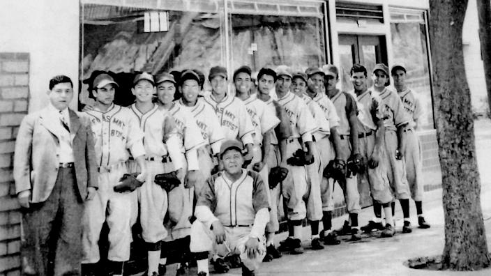 "The 1949 Ornelas Food Market baseball team, from ""Mexican American Baseball in East Los Angeles."" <span class=""copyright"">(Richard Peña)</span>"