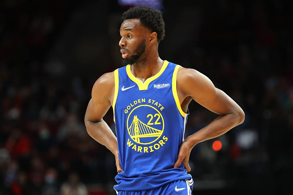 PORTLAND, OREGON - OCTOBER 04: Andrew Wiggins #22 of the Golden State Warriors reacts against the Portland Trail Blazers in the first quarter during the preseason game at Moda Center on October 04, 2021 in Portland, Oregon. NOTE TO USER: User expressly acknowledges and agrees that, by downloading and or using this photograph, User is consenting to the terms and conditions of the Getty Images License Agreement.  (Photo by Abbie Parr/Getty Images)