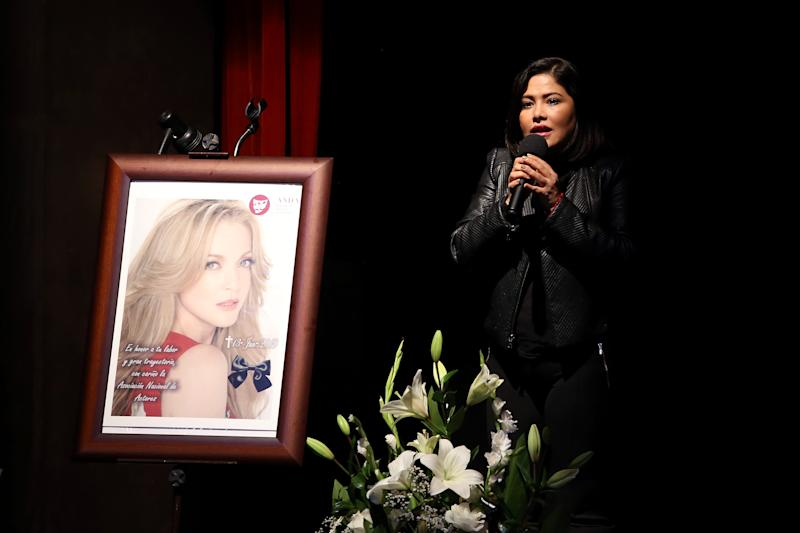 MEXICO CITY, MEXICO - JUNE 14: Actress Vanessa Bauche speaks during a ceremony to honor Actress Edith Gonzalez at Teatro Jorge Negrete on June 14, 2019 in Mexico City, Mexico. Edith Gonzalez died on June 13 after struggling with ovarian cancer for three years. (Photo by Adrián Monroy/Medios y Media/Getty Images)