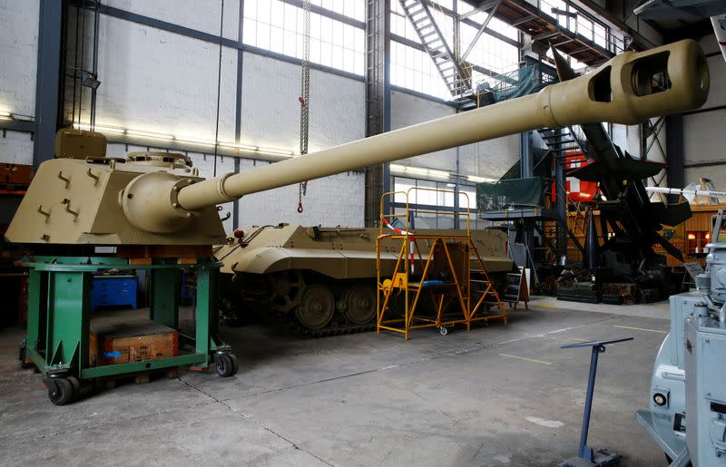 """Turret is seen beside the hull of a German World War II Tiger II """"King Tiger"""" tank at Swiss Military Museum Full in Full"""