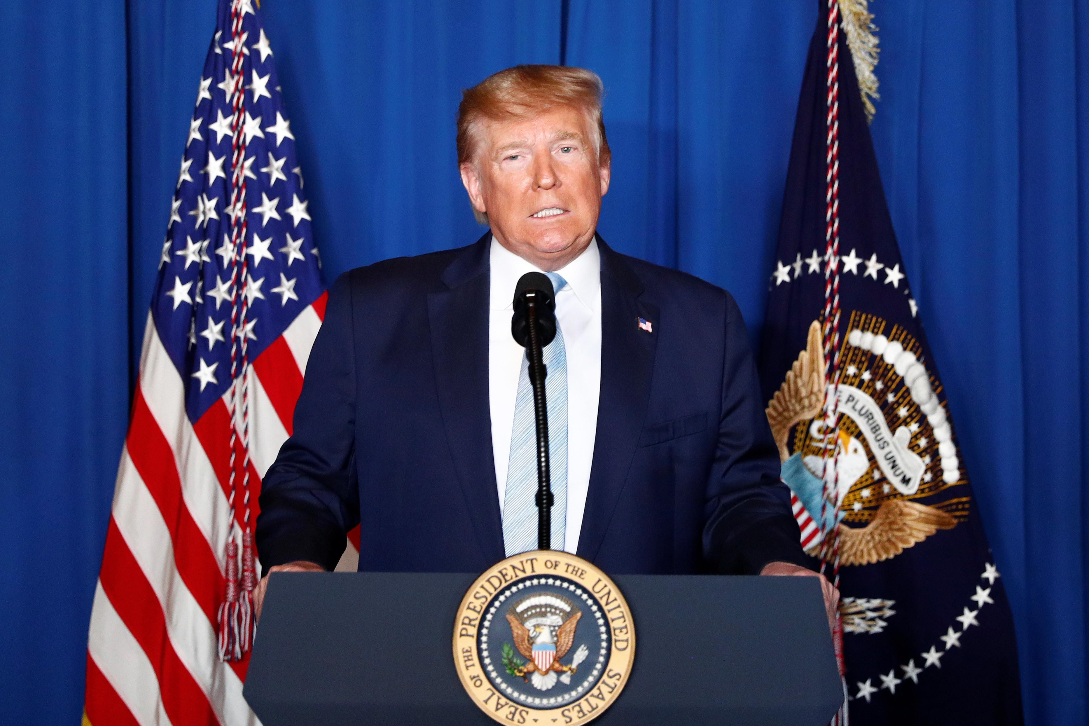 U.S. President Donald Trump delivers remarks following the U.S. Military airstrike against Iranian General Qassem Soleimani in Baghdad, Iraq, in West Palm Beach, Florida, U.S., January 3, 2020. REUTERS/Tom Brenner