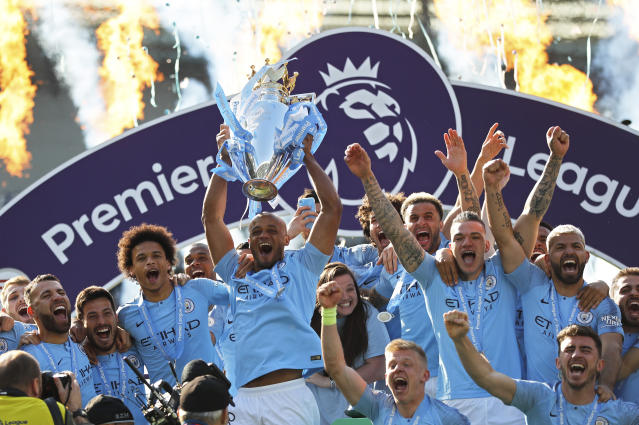 Will Man City will retain the title? The players, speaking from the final of the #BetRegret Cup - part of the UK's largest safer gambling campaign - believe they will. (AP Photo/Frank Augstein)