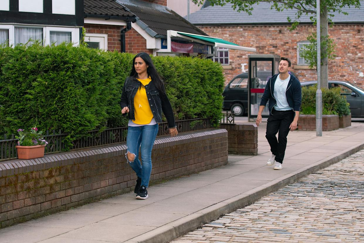 FROM ITV  STRICT EMBARGO - No Use Before Tuesday 6th July 2021  Coronation Street - Ep 10375  Monday 12th July 2021 - 2nd Ep  Alya Nazir [SAIR KHAN] tells Ryan Connor [RYAN PRESCOTT] they're finished.    Picture contact David.crook@itv.com   Photographer - Danielle Baguley  This photograph is (C) ITV Plc and can only be reproduced for editorial purposes directly in connection with the programme or event mentioned above, or ITV plc. Once made available by ITV plc Picture Desk, this photograph can be reproduced once only up until the transmission [TX] date and no reproduction fee will be charged. Any subsequent usage may incur a fee. This photograph must not be manipulated [excluding basic cropping] in a manner which alters the visual appearance of the person photographed deemed detrimental or inappropriate by ITV plc Picture Desk. This photograph must not be syndicated to any other company, publication or website, or permanently archived, without the express written permission of ITV Picture Desk. Full Terms and conditions are available on  www.itv.com/presscentre/itvpictures/terms