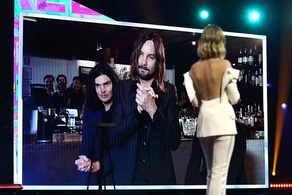 Delta Goodrem congratulates Kevin Parker and members of Tame Impala after winning the ARIA Award for Album of the Year via video link at the 2020 ARIA Awards at The Star on November 25, 2020 in Sydney, Australia.