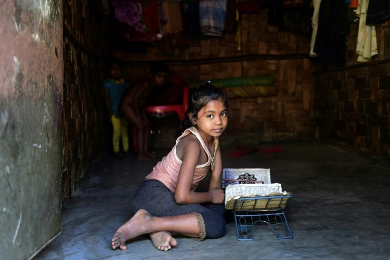 A Rohingya girl pictured in November 2016, in a refugee camp in Bangladesh