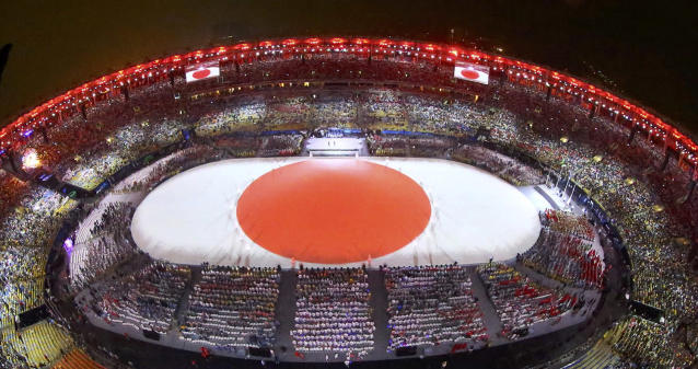 <p>The Japanese flag is formed during the closing ceremony for the 2016 Rio Olympics. Tokyo will host the Summer Olympics in 2020. (REUTERS/Pawel Kopczynski) </p>