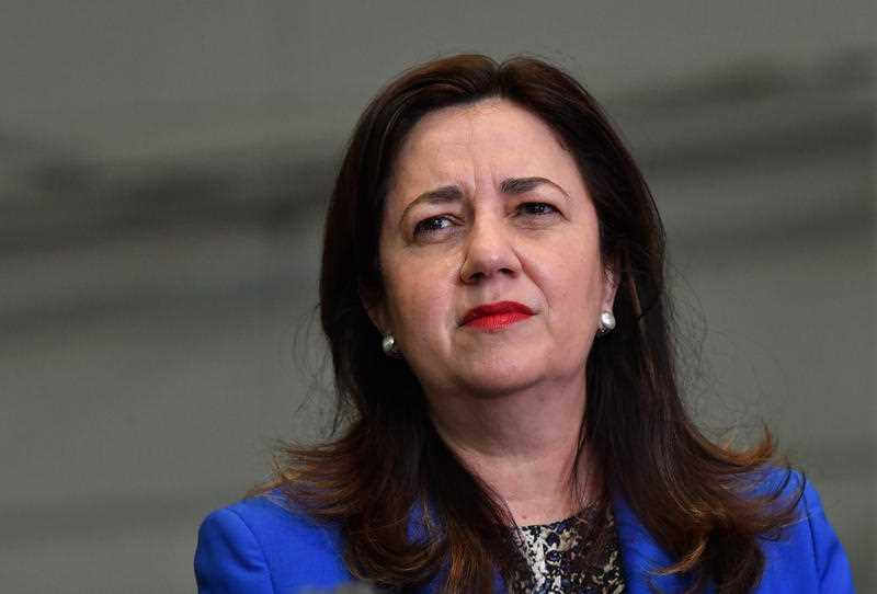 Queensland Premier Annastacia Palaszczuk is seen during a press conference at the Brisbane Convention and Exhibition Centre in Brisbane.