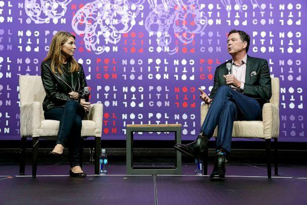 PHOTO: Nicolle Wallace and James Comey speak onstage during the 2019 Politicon at Music City Center on Oct. 26, 2019, in Nashville, Tennessee. (Ed Rode/Getty Images for Politicon)