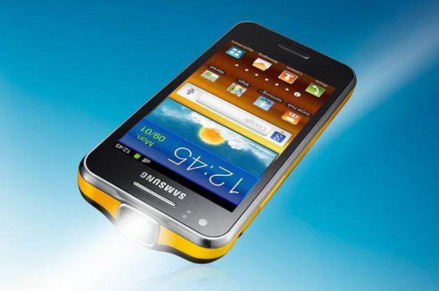 Samsung Galaxy Beam Approx. Price	28500 SIM	Single mini SIM Weight	147 gm Screen size	4 inch TFT Capacitive Touch Screen, 480 x 800 pixels resolution Storage 	8 GB storage Processor	1 GHz  Dual core processor RAM	768 MB OS	Android 2.3 Keyboard	Touch Camera (shooting)	5 MP with Face Detection, HD video recording 1.3 MP front facing camera Battery Average Talktime Standby Life	2000 mAh 20 hours  760 hours Connectivity	 Projector	Built-in nHD projector 15 lumens Good display up to 50 inch wide screen Other	Image Editor, Document Editor, Android market of web apps