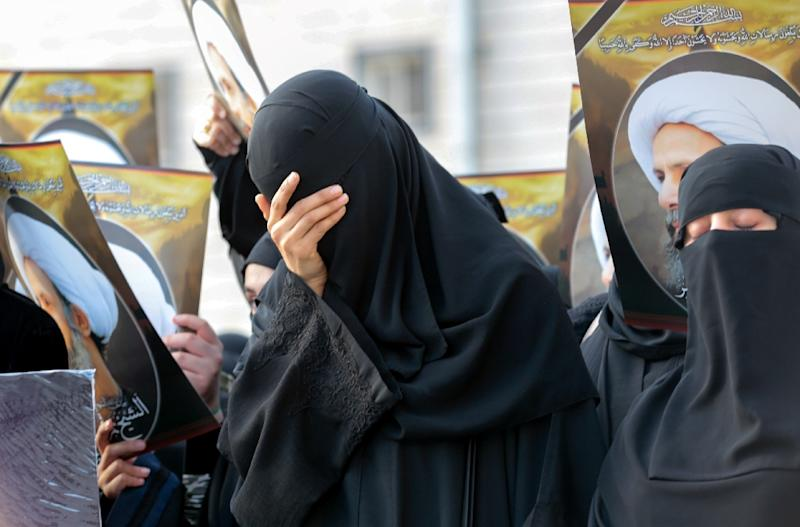 Saudi Shiite women react during a protest on January 8, 2016 in the eastern coastal city of Qatif (AFP Photo/)