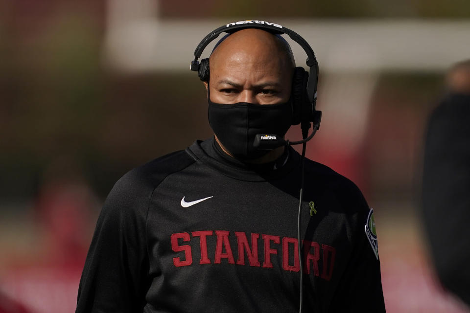 Stanford head coach David Shaw walks on the sideline during the first half of an NCAA college football game against Colorado in Stanford, Calif., Saturday, Nov. 14, 2020. (AP Photo/Jeff Chiu)