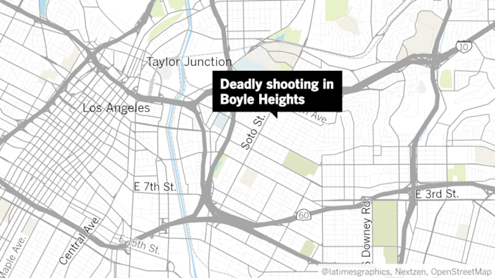 A map of Los Angeles' Eastside with a label pointing to location of a deadly shooting in Boyle Heights