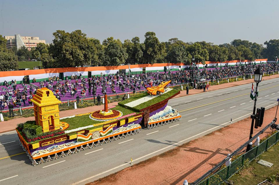 New Delhi: Central Public Works Department (CPWD) tableau passes Rajpath during the 72nd Republic Day celebrations, in New Delhi, Tuesday, Jan. 26, 2021.