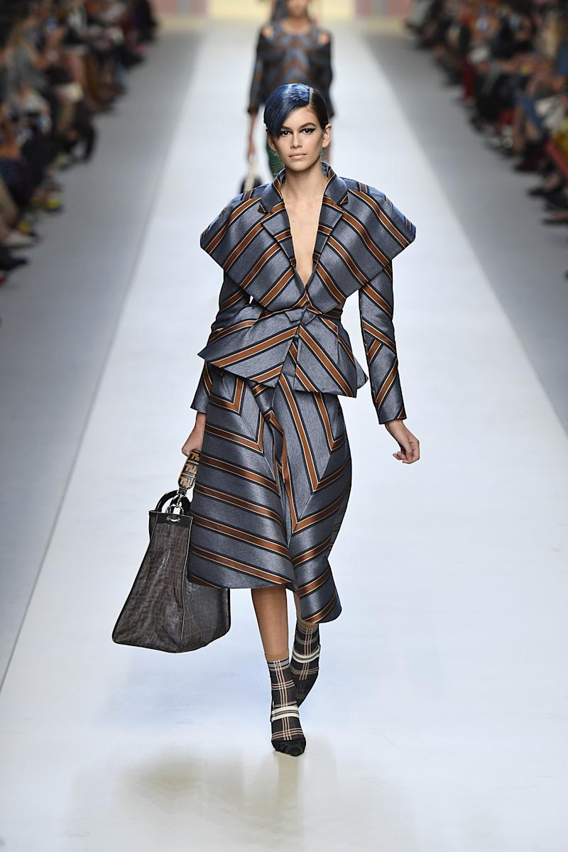 Kaia Gerber walks the runway at the Fendi Ready to Wear Spring/Summer 2018 fashion show during Milan Fashion Week Spring/Summer 2018 on September 21, 2017 in Milan, Italy. (Photo by Victor VIRGILE/Gamma-Rapho via Getty Images)