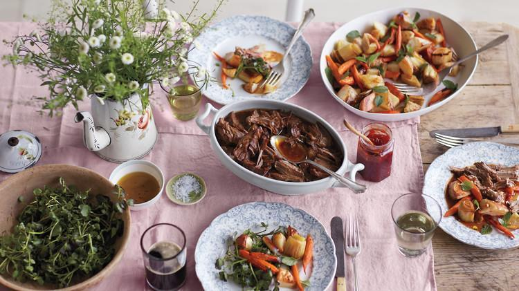 """<p>Can you think of a more appropriate dinner for <a href=""""https://www.marthastewart.com/1512149/what-do-irish-eat-st-patricks-day"""" rel=""""nofollow noopener"""" target=""""_blank"""" data-ylk=""""slk:St. Patrick's Day"""" class=""""link rapid-noclick-resp"""">St. Patrick's Day</a> than this recipe? Boneless lamb shoulder is seared, then braised with garlic, rosemary, Worcestershire sauce, stout beer, and chicken broth for a fork-tender dinner. <a href=""""https://www.marthastewart.com/1104516/stout-braised-lamb"""" rel=""""nofollow noopener"""" target=""""_blank"""" data-ylk=""""slk:View recipe"""" class=""""link rapid-noclick-resp""""> View recipe </a></p>"""