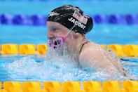<p>Lydia Jacoby of Team United States competes in the Mixed 4 x 100m Medley Relay Final at Tokyo Aquatics Centre on July 31, 2021 in Tokyo, Japan. (Photo by Maddie Meyer/Getty Images)</p>