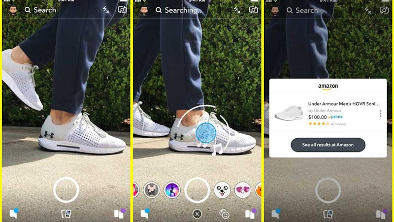 Snapchat is testing a feature in partnership with Amazon for image-based shopping