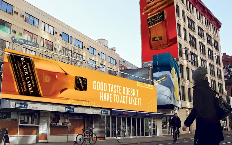 Through a reimagined view of the Johnnie Walker bottle, the campaign visuals are literally flipping Scotch whisky on its head.