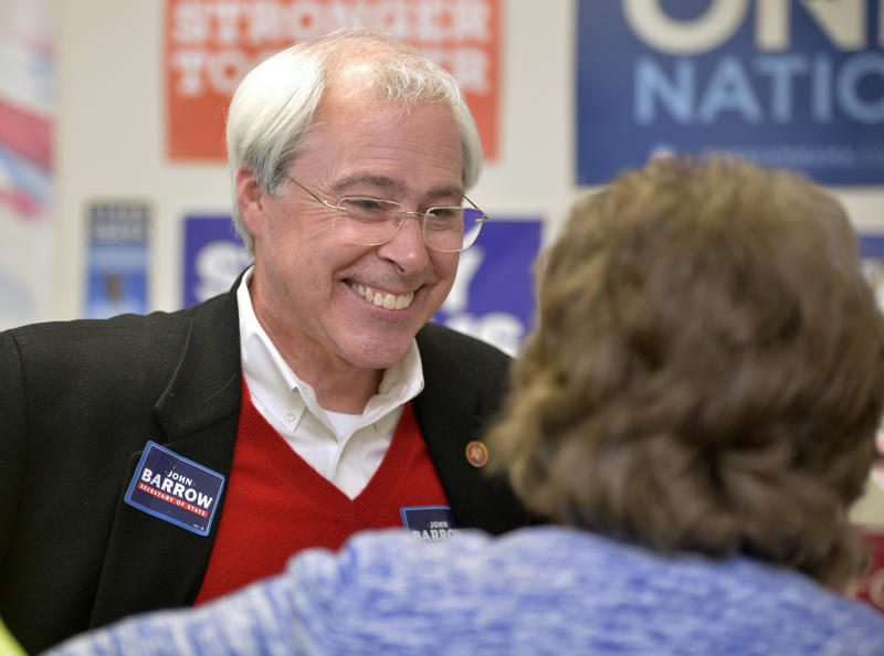 Democrat Secretary of State candidate John Barrow speaks during a campaign stop in Augusta, Ga. Monday, December 3, 2018. Barrow is pitted against Republican Brad Raffensperger in a runoff that will be decided Tuesday. (Michael Holahan/The Augusta Chronicle via AP)