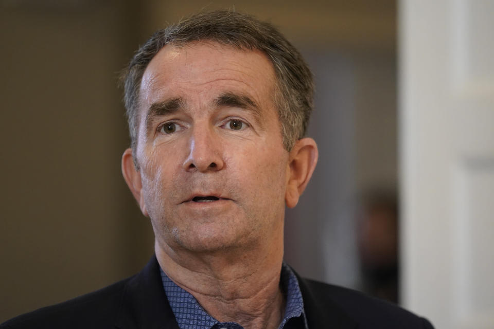 FILE -This Monday March 15, 2021 file photo shows Virginia Gov. Ralph Northam in Richmond, Va., Monday, March 15, 2021. The political crisis engulfing New York Gov. Andrew Cuomo has triggered a flurry of comparisons to Northam. (AP Photo/Steve Helber)